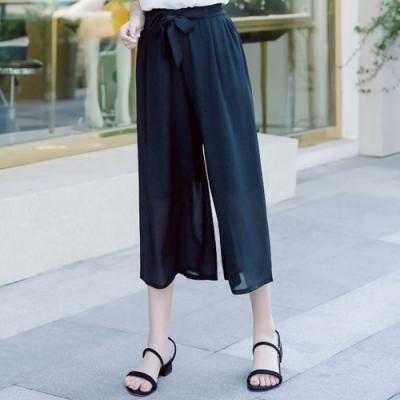 La Belleza黑色鬆緊腰綁帶雪紡闊腿褲寬褲(內裡短褲)