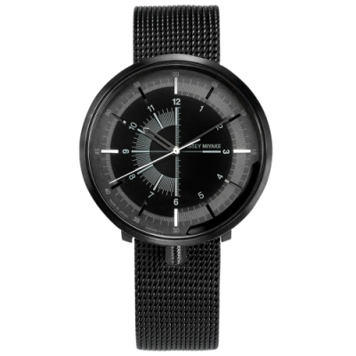 ISSEY MIYAKE 三宅一生 One-Sixth 米蘭編織不鏽鋼機械錶-黑/43mm