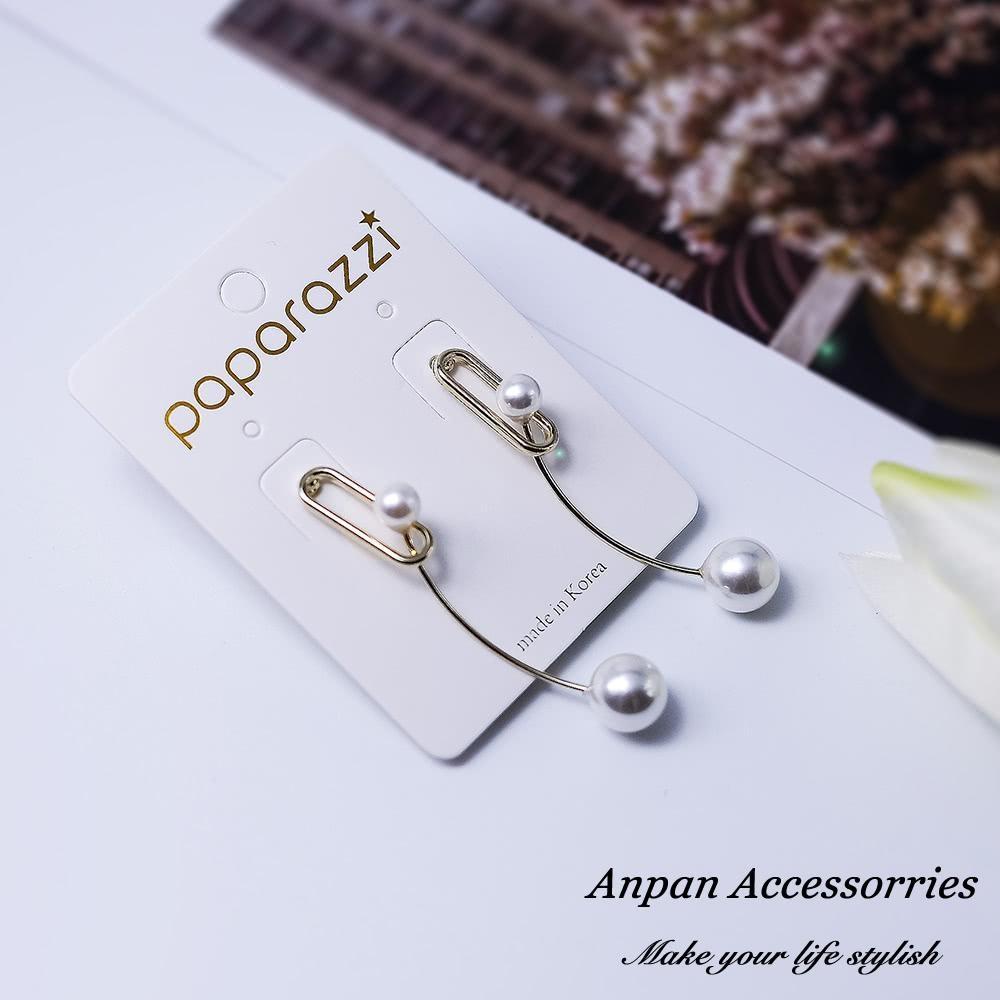 【Anpan 愛扮】韓東大門別針雙珍珠925銀針耳釘式耳環