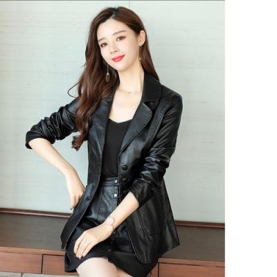 2F韓衣-韓系造型排扣皮格外套-2色(M-3XL)