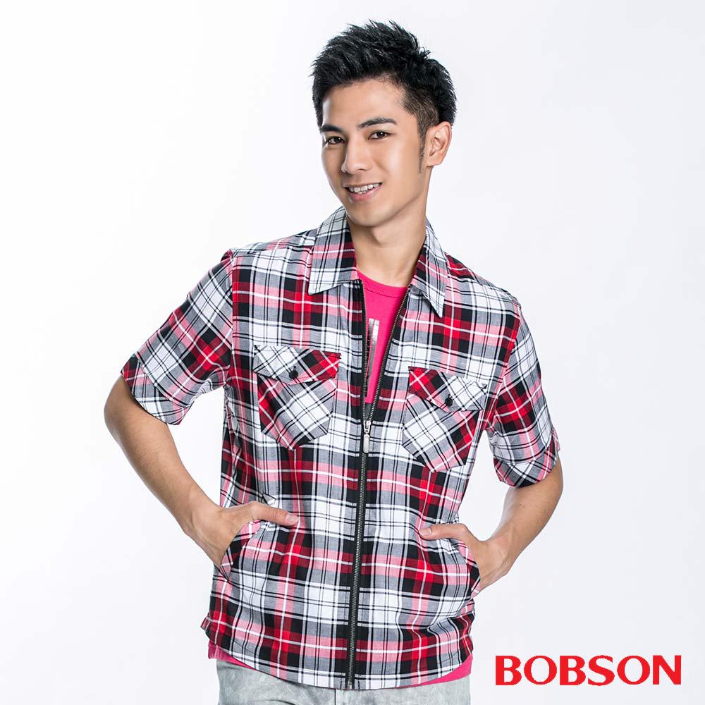 BOBSON 男款格紋短袖外套(紅23002-13)