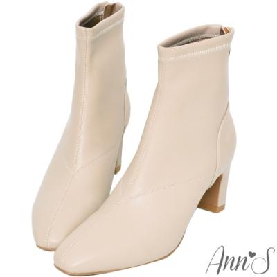 Ann'S充滿自信-美型貼腿剪裁方頭扁跟短靴-杏灰