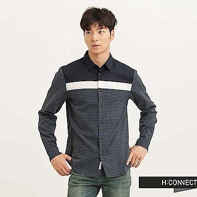 H:CONNECT 韓國品牌 男裝 - 色塊拼接格紋襯衫-藍(快)
