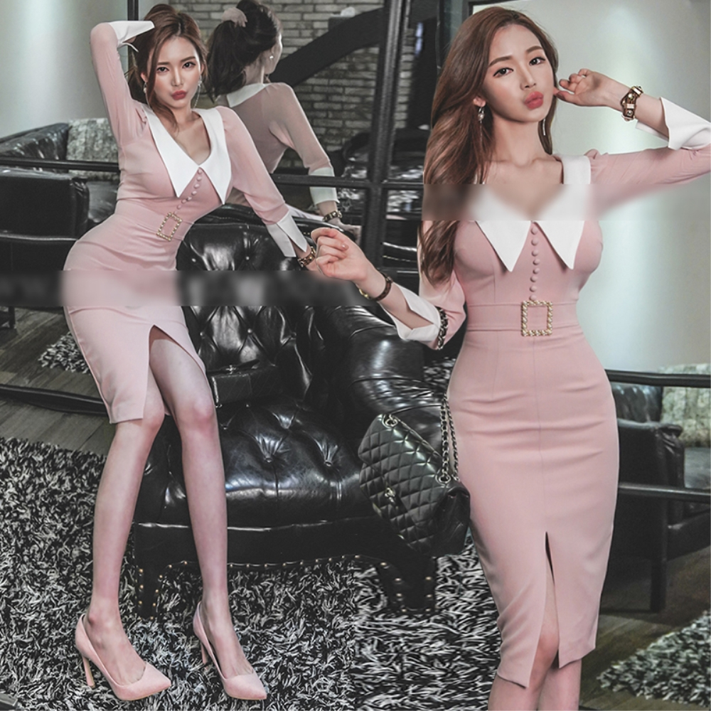 DABI 韓國風名媛V領性感修身長袖洋裝