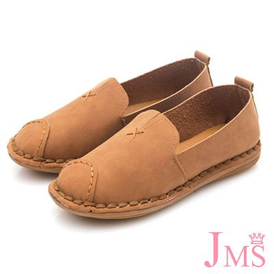 JMS-輕柔格調小V口縫線平底休閒鞋-棕色
