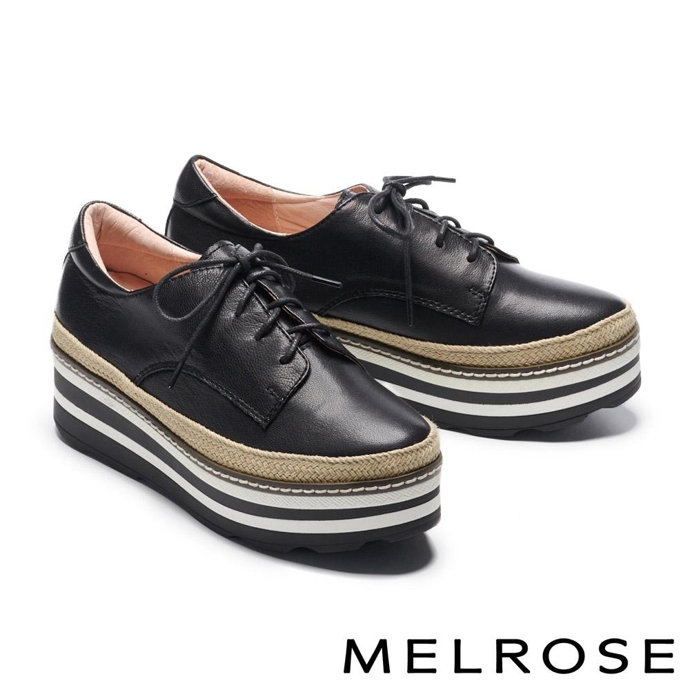 休閒鞋 MELROSE 率性時尚全真皮綁帶厚底休閒鞋-黑