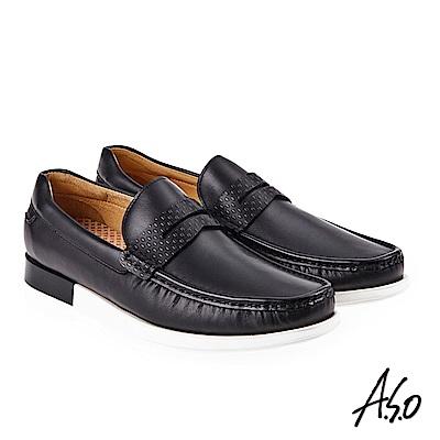 A.S.O 霸足氣墊 直套式奈米機能休閒鞋 黑