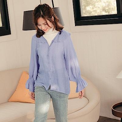 iMODA STAR-臧芮軒。輕薄皺皺布鬆緊造型袖口襯衫罩衫
