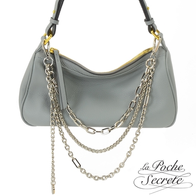 La Poche Secrete側背包 簡約真皮時髦鍊帶4WAYS側斜背包-霧灰藍