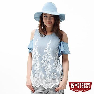 5th STREET 襯衫 天絲棉牛仔蕾絲襯衫-女-漂淺藍