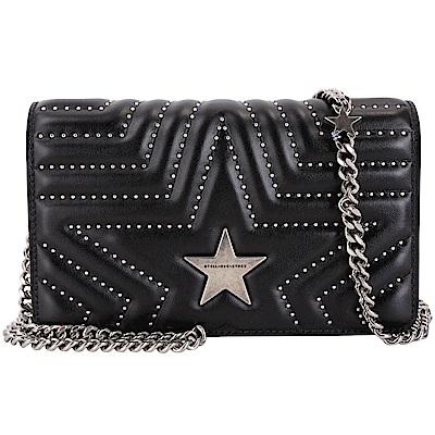 Stella McCartney Star WOC 小款星型鉚釘絎縫手拿鍊帶包(黑色)