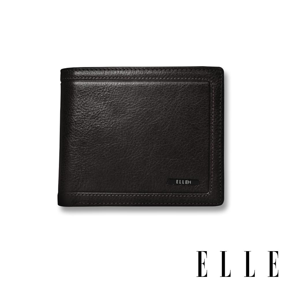 ELLE HOMME 金屬Logo系列-6卡三折窗格真皮皮夾/短夾/零錢袋- 紳士黑