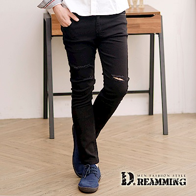 Dreamming 顯瘦款破膝抽鬚伸縮休閒九分長褲-黑色