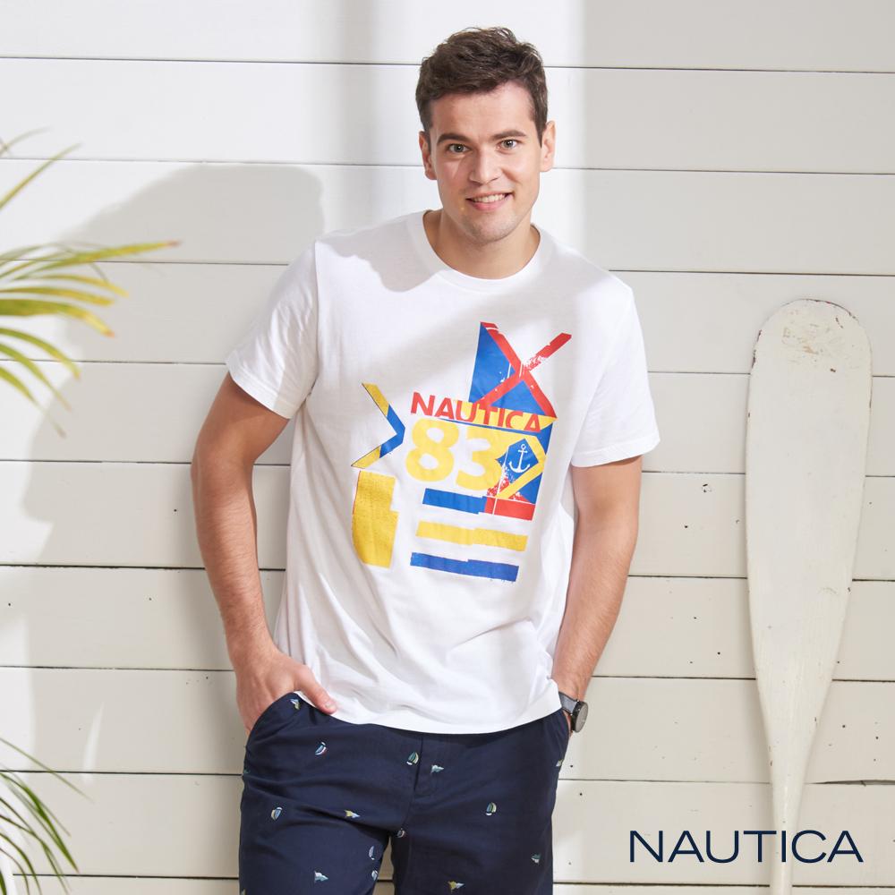 Nautica 夏日多彩圖騰短袖T恤-白