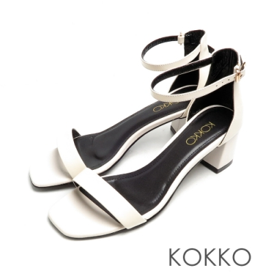 KOKKO時髦方頭小牛皮一字帶粗跟繫帶涼鞋象牙白