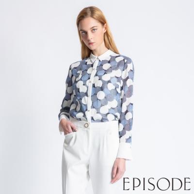 EPISODE - 氣質藍白圓點襯衫上衣(藍)