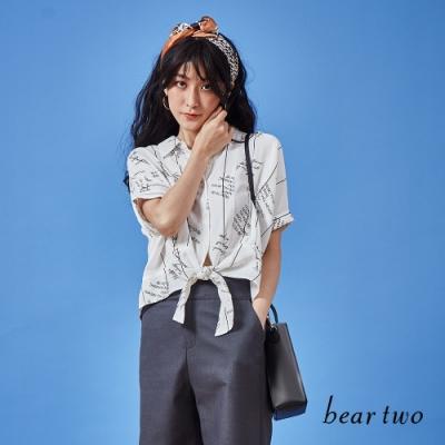 beartwo-英文標語造型上衣-白