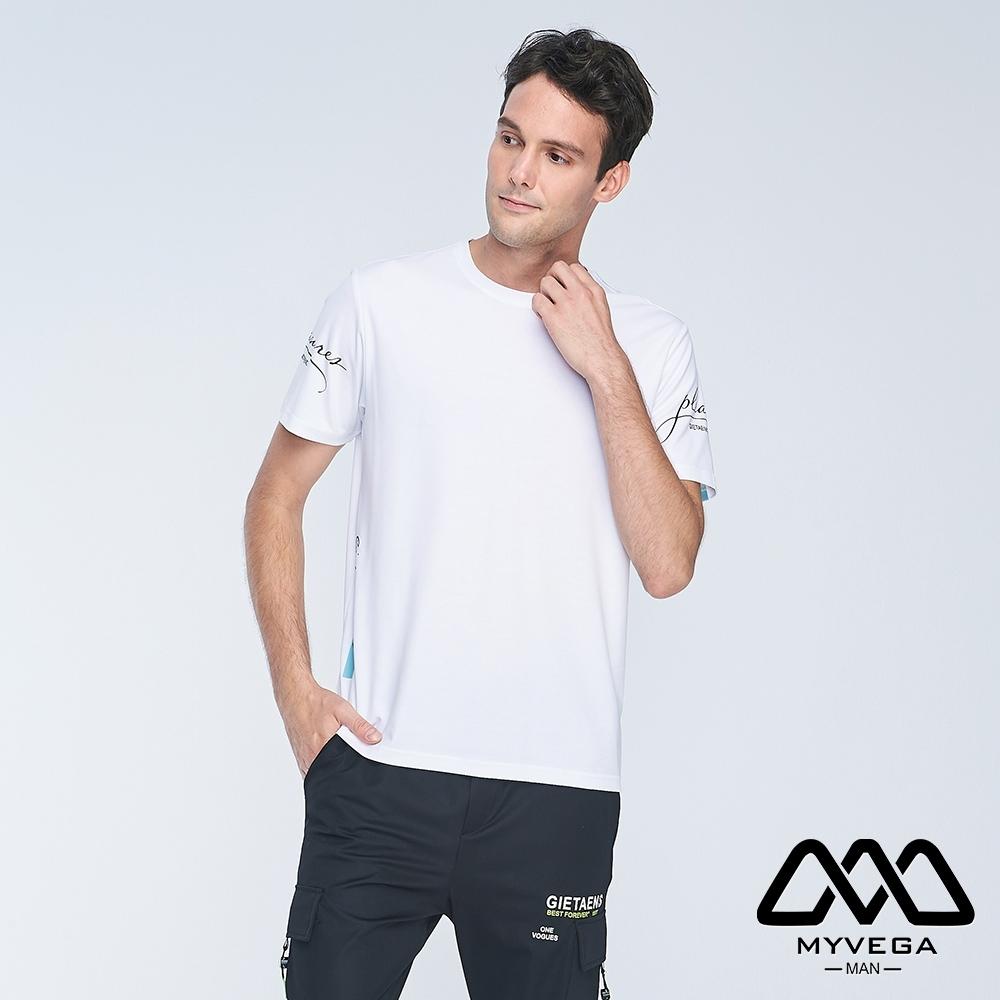 MYVEGA MAN字母印花街頭風短袖T恤-白