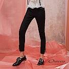 OUWEY歐薇 綁帶裝飾-5kg彈力修身窄管褲(黑)