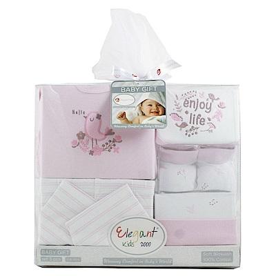 美國Elegant kids彌月禮盒-粉色小鳥5件式紗網禮盒