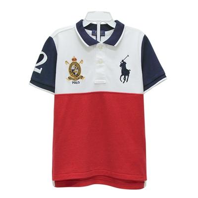 Ralph Lauren 童裝徽章經典大馬拼接短袖POLO衫-白/藍/紅(5歲)