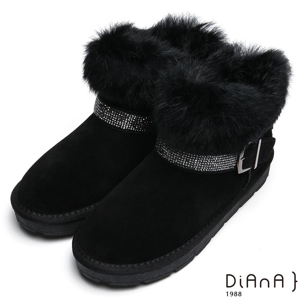 DIANA毛毛皮草水鑽釦飾雪靴-華麗滿載-黑