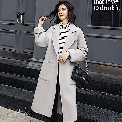淺灰色時尚翻領純色大衣外套S~XL-SZ