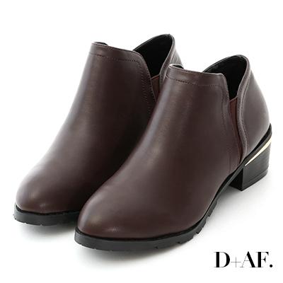 D+AF 俐落登場.素面側鬆緊金屬跟短靴*咖