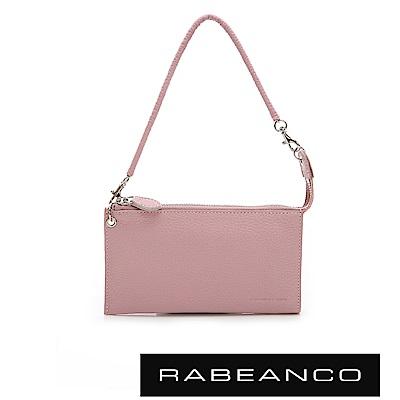 RABEANCO 頂級荔枝紋牛皮手拿包長夾 粉紅