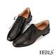 HERLS牛津鞋-全真皮扁鞋帶方頭粗低跟德比鞋牛津鞋-黑色 product thumbnail 1