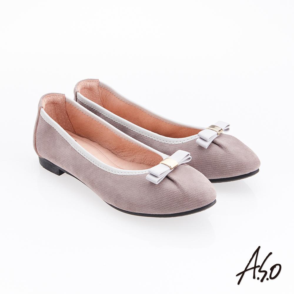 A.S.O 輕履鞋 蝴蝶結羊絨皮可折疊娃娃鞋 灰