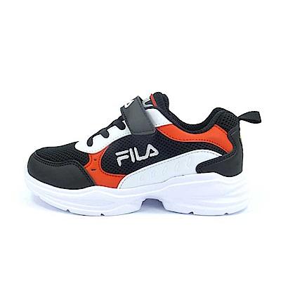 FILA MD輕量慢跑鞋 黑紅 大童(6~12歲) 3-J409U-011