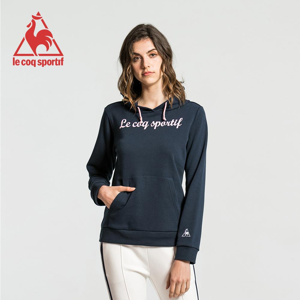 le coq sportif 法國公雞牌草寫字母毛圈連帽T恤 女-丈青
