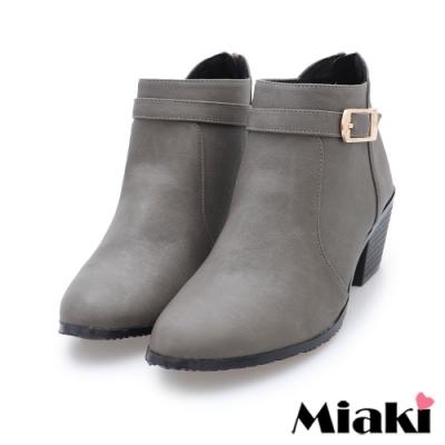 Miaki-短靴MIT 潮流尖頭粗跟機車靴-灰