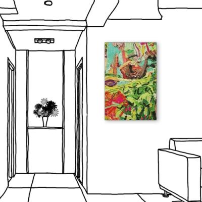 24mama掛畫-單聯式 綠色 藝術抽象 油畫風無框畫 40X60cm-疊疊抽象