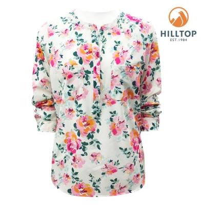 【hilltop山頂鳥】女款吸濕快乾抗UV彈性長袖襯衫S05F72白玫瑰印花