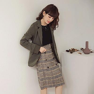 時髦千鳥格紋附腰帶雙排釦修身中長裙-OB嚴選