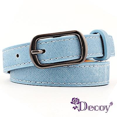Decoy 牛仔編織 日字扣時尚細皮帶 天藍