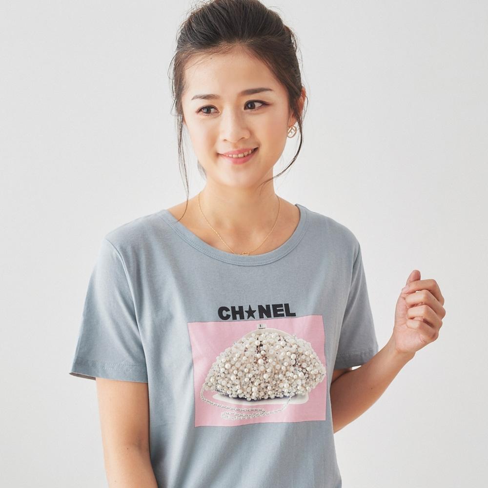 【白鵝buyer】 CH珍珠造型立體造型T恤_藍