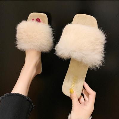 KEITH-WILL時尚鞋館 視覺個性絨毛一字拖-米色