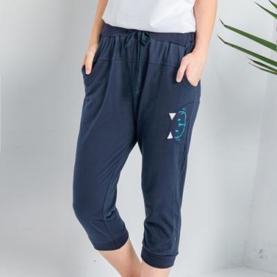 【白鵝buyer】可愛貓咪休閒棉料七分褲_深藍