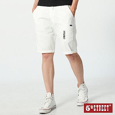5th STREET 潮系列多色休閒五分褲-男-白色
