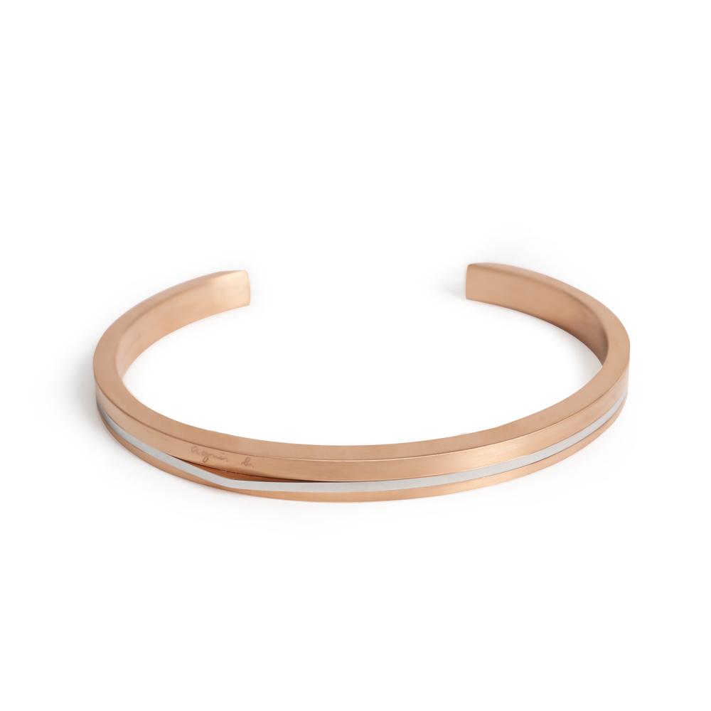 agnes b. 經典雙色C型白鋼女手環(玫瑰金) @ Y!購物