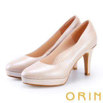ORIN 展現時尚魅力 後跟金屬條飾羊皮質感高跟鞋-粉色