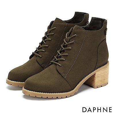 達芙妮DAPHNE 踝靴-原色交叉綁帶復古木紋粗跟靴-橄欖綠
