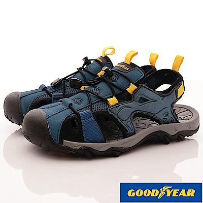 GOODYEAR-護趾運動涼鞋-EI3626藍(男段)