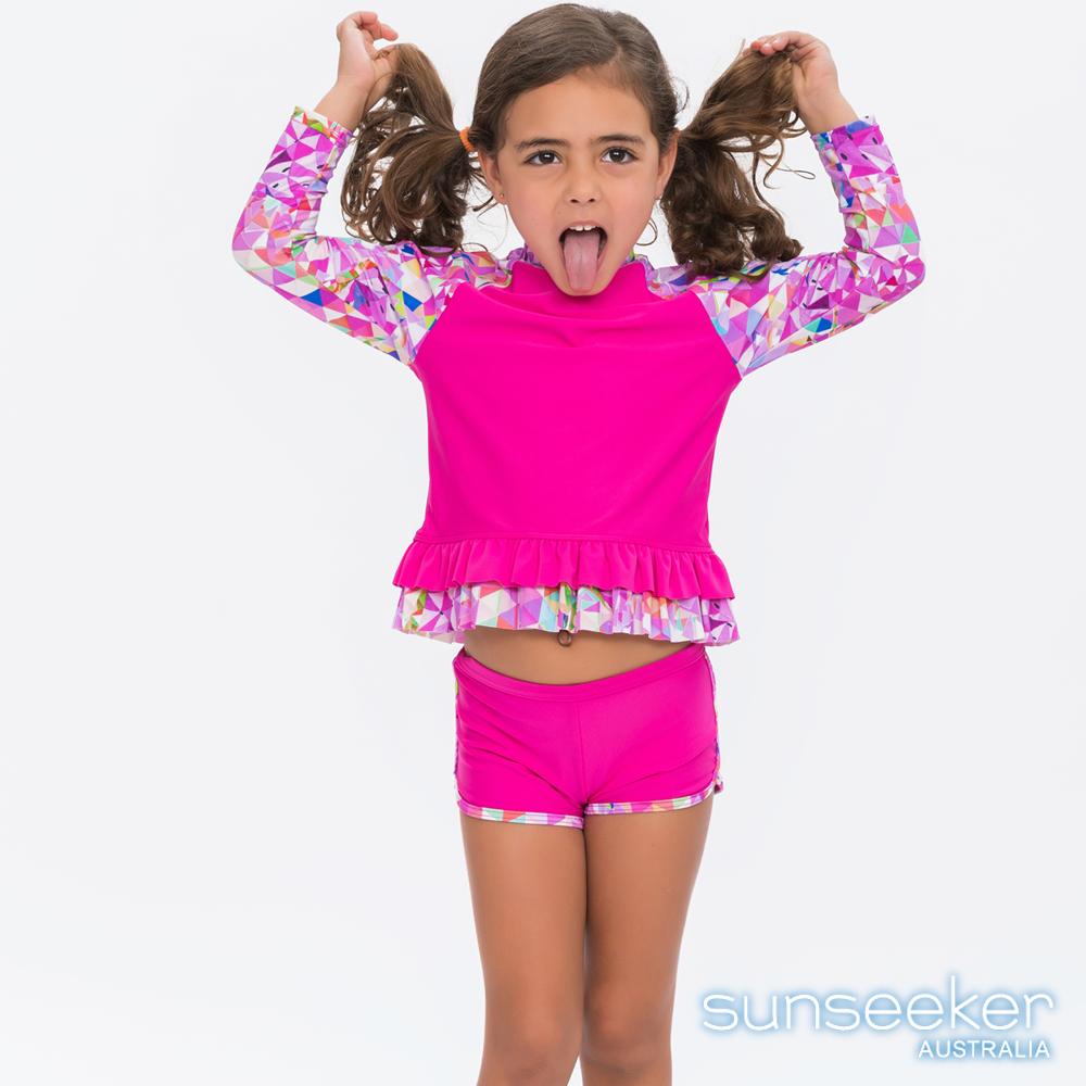 澳洲Sunseeker泳裝抗UV防曬長袖立領幾何兩件式泳衣-小女童桃紅