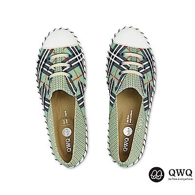 QWQ防潑水彩繪女包鞋 賽寧格紋-蒂芬妮綠