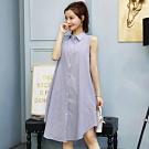 La Belleza襯衫領條紋格子側口袋長版棉麻寬鬆裙擺背心洋裝