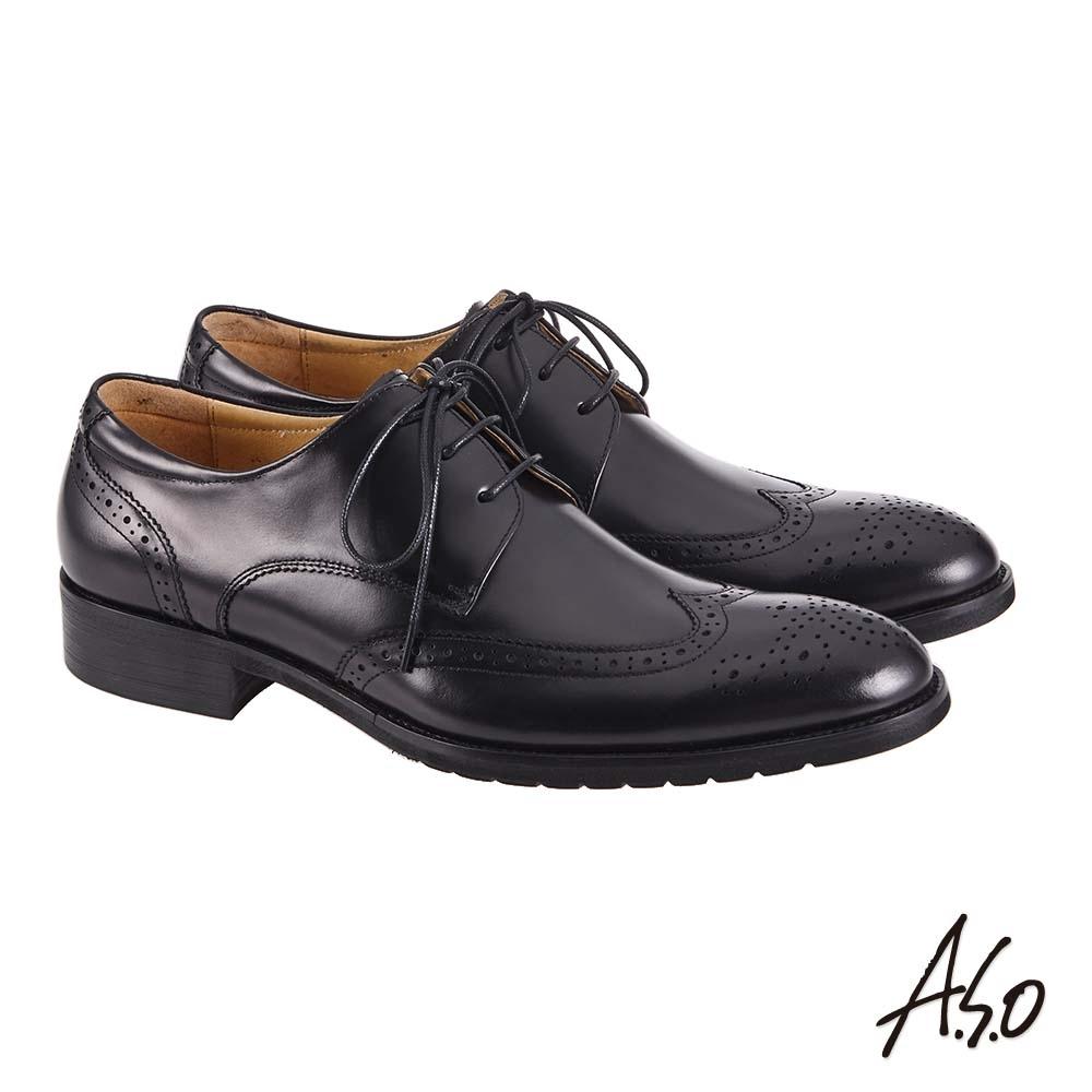 A.S.O 職場通勤 萬步健康鞋 外耳式綁帶款紳士鞋-黑